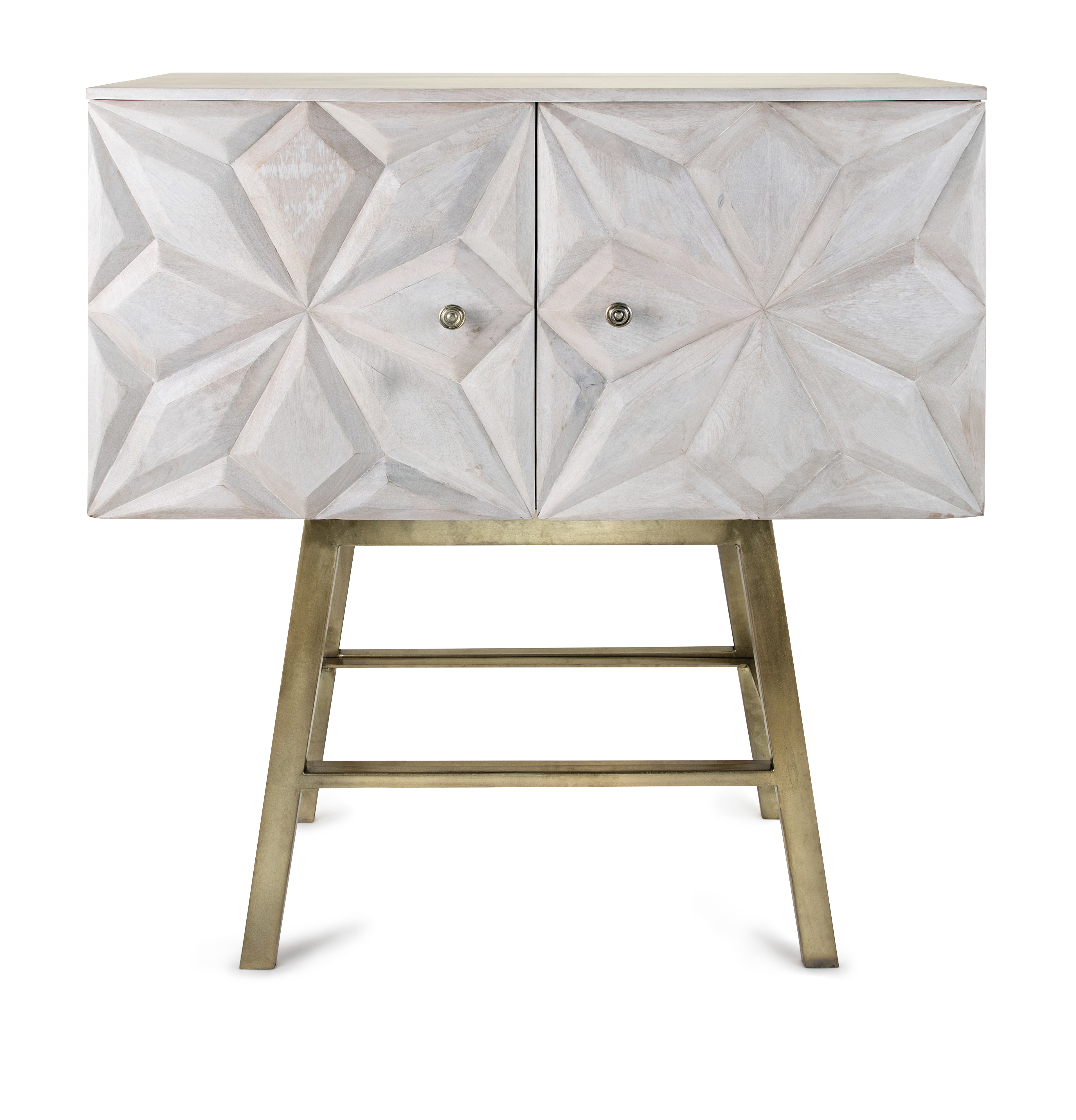 Imax The Laken Cabinet Features A Lime Washed Mango Wood Cabinet Top And Brass Finished Metal Stand Hand Carved Detailing And A Whitewashed Interior With
